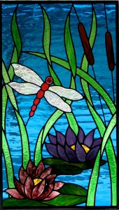 Dragonfly Lamp; waterlillies